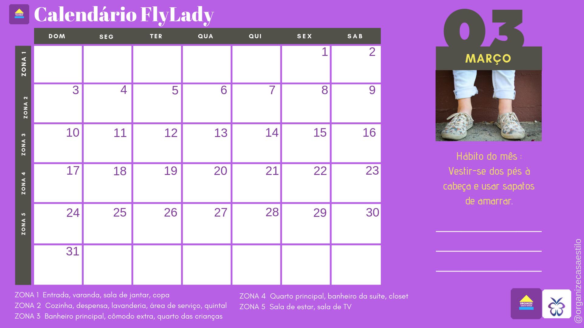 Calendario Flylady.Programe Suas Tarefas Domesticas Com O Calendario Flylady